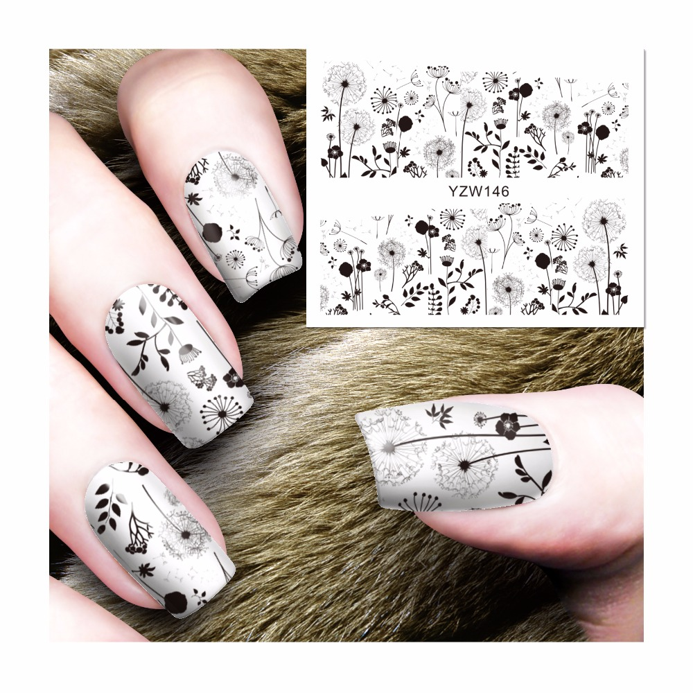 LCJ Harajuku Designs DIY Decals Nails Art Water Transfer Printing Stickers For Manicure Salon 146 2016 2sheets manicure tips beauty purples oil printing 3d diy designs nail art water transfer stickers decals full cover xf1405