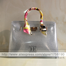 2016 New arrival Candy Color Transparent Jelly Beach Bag Spoof Platinum Bling Silver Casual Tote bag