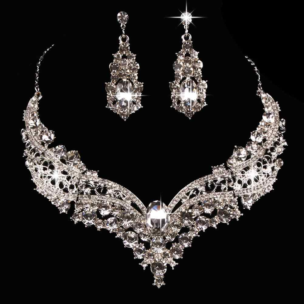 Wedding Bridal Queen Style Fully Shiny Rhinestone Necklace Earrings Jewelry Set attractive