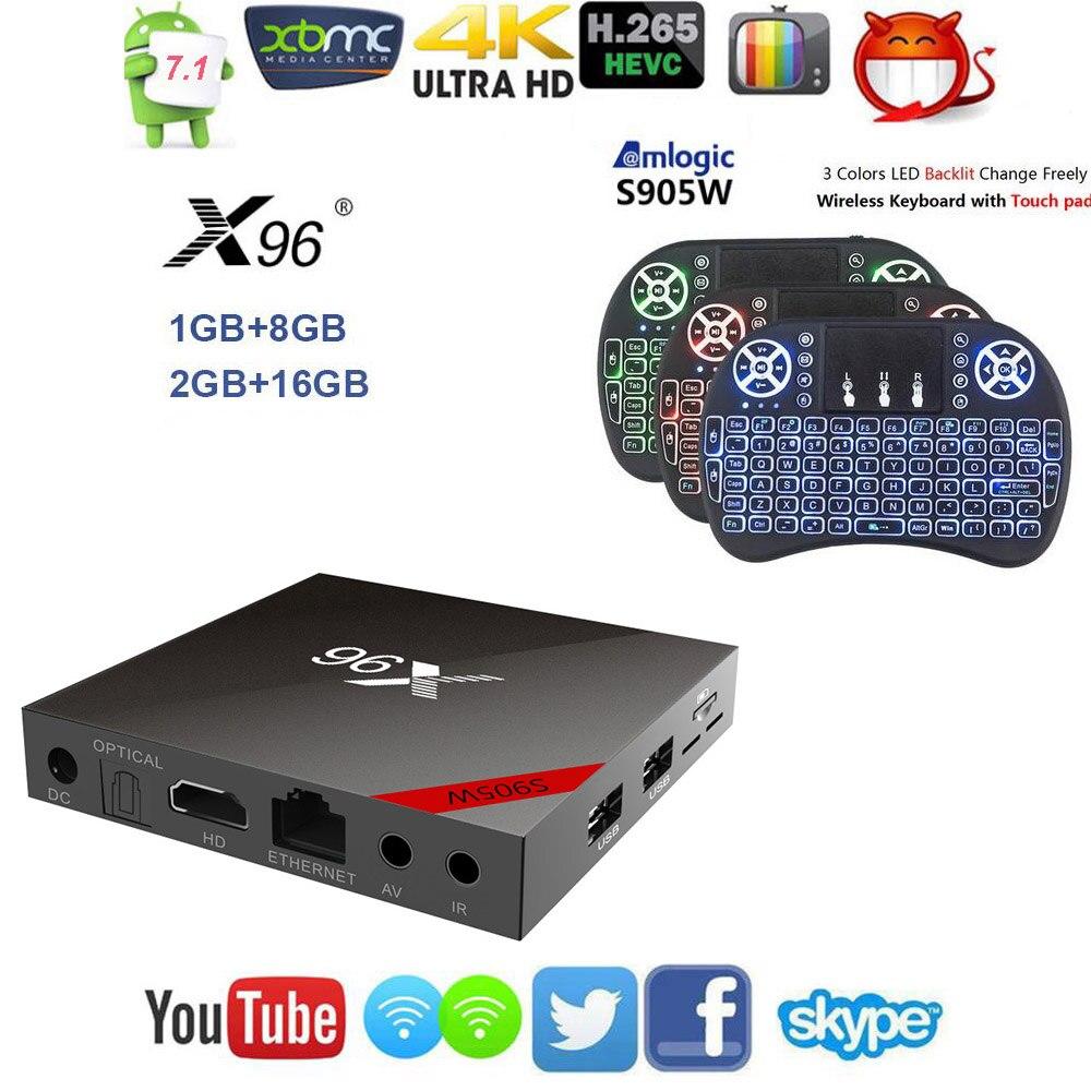 Nuevo Original X96 Android 7,1 Smart TV caja Quad core HD2.0 4 K * 2 K Amlogic S905W con Bluetooth conexión + IR Control Remoto + Cable