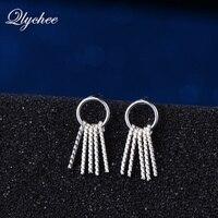 Qlychee S925 Sterling Bạc Vòng Tròn Xoắn Ốc Kết Cấu Dải Dài Kim Loại Tassel Dangle Earrings Phụ Nữ Tai Độc Đáo Trang Sức Phụ Kiện