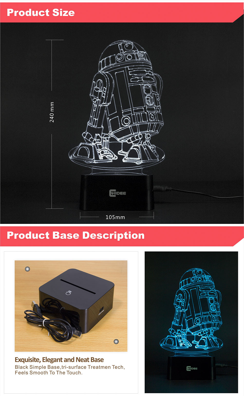 CNHIDEE USB Novelty 3d Lampara Night Lights Star Wars R2D2 Robort Led Lampara as Children Bedroom Luz Nocturna Table Reading Lamp (4)