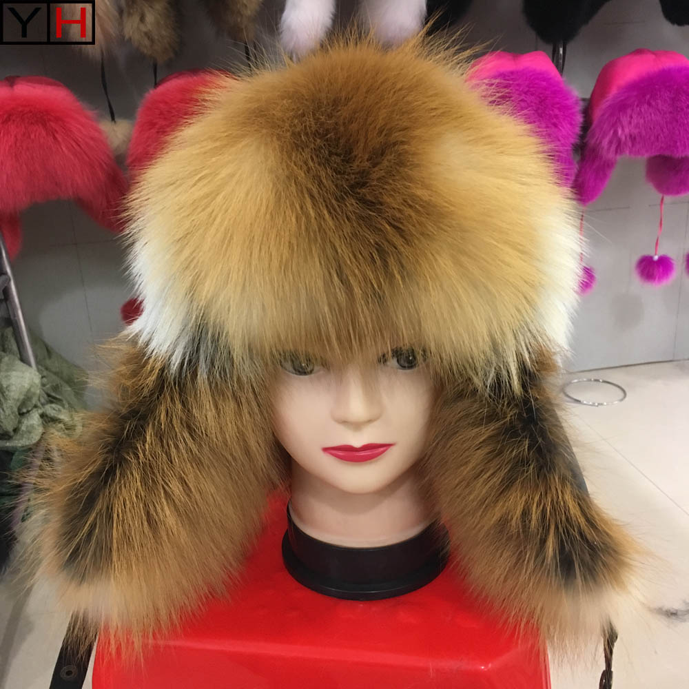 Winter Real Fox Fur Bomber Hats Warm Soft  High Quality Fox Fur Hat  Real Sheepskin Leather Hat Natural  Fashion Fur Caps(China)