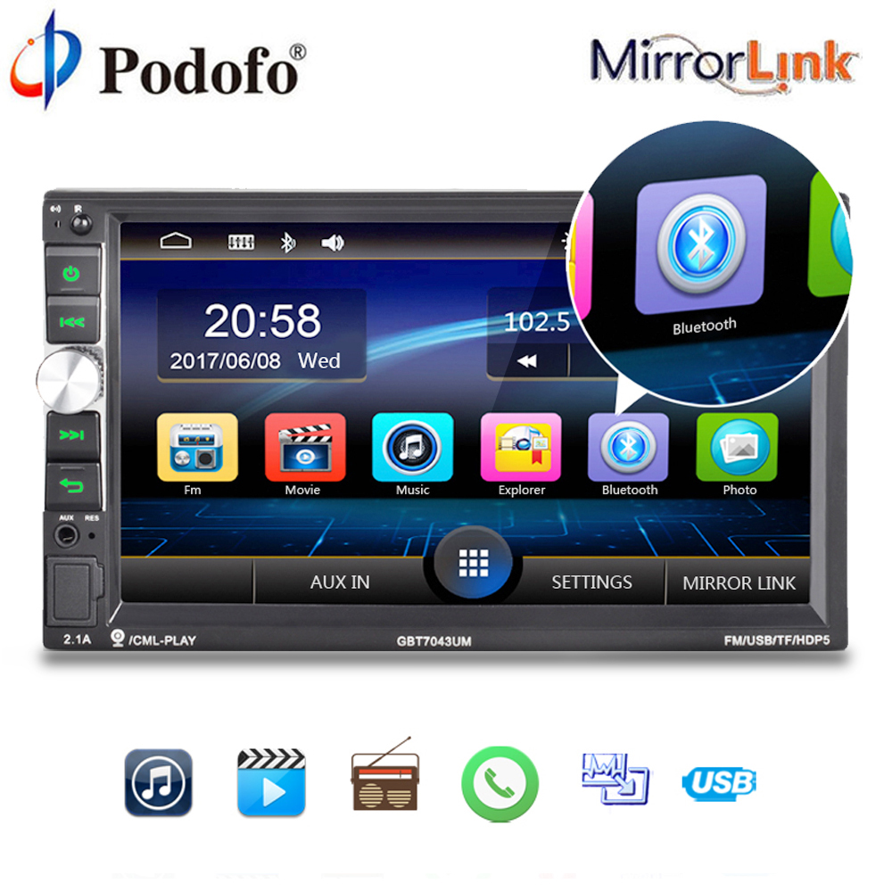 Podofo 2 Din Car Multimedia Player Audio Stereo 2DIN Car Radio 7 Touch Screen auto Radio MP5 Player Bluetooth TF USB FM camera podofo 2 din car radio 7 hd audio stereo bluetooth multimedia player mp5 usb sd fm 2din touch screen autoradio rearview camera