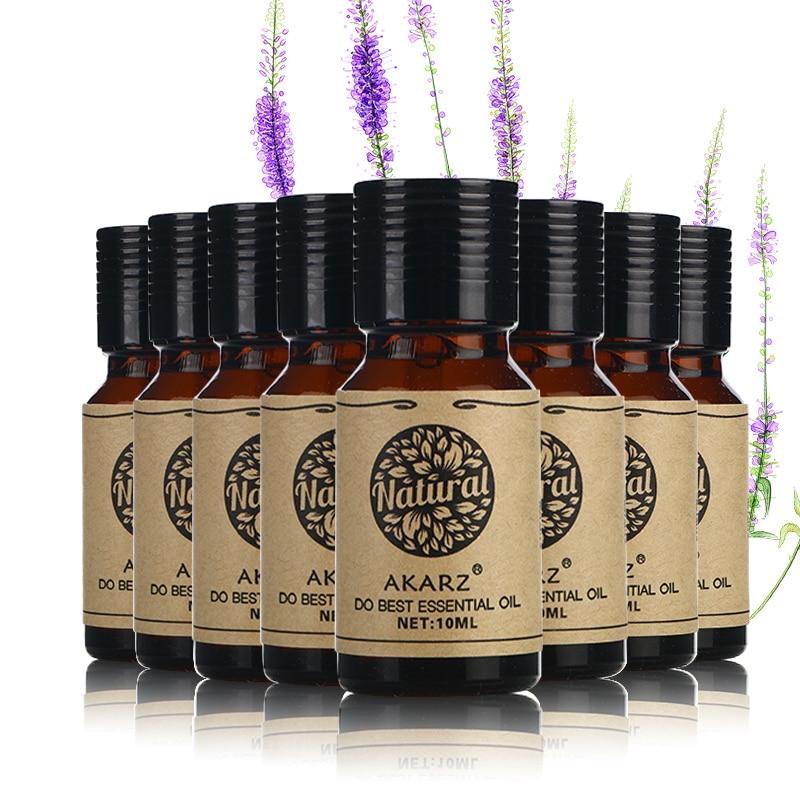 AKARZ Famous Brand Value Sets Patchouli Peppermint Citronella Lotus Chamomile Clove Lavender Rose Essential Oils 10ml*8