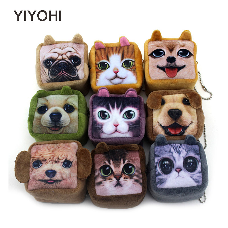 7cm*6cm*5cm Cute Style Novelty Cuboid 3D Animal Zip Plush Coin Purse Kawaii Children Coin Purse Women Wallet Mini Handbag