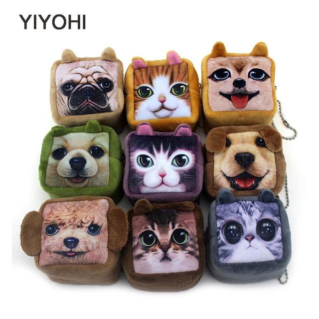 7cm*6cm*5cm Cute Style Novelty Cuboid 3D Animal Zip Plush Coin Purse Kawaii Children Coin Purse Women Wallet Mini Handbag