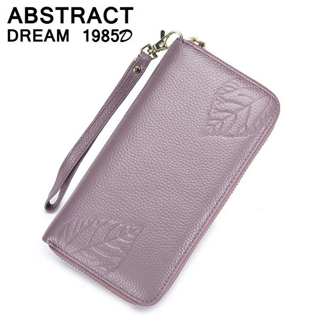 5642b3f0addd US $14.78 49% OFF|women real leather wallet 2019 New Embossing Ladies  wallet personality classic card holder 2019 fashion Green leaf casual purse  -in ...
