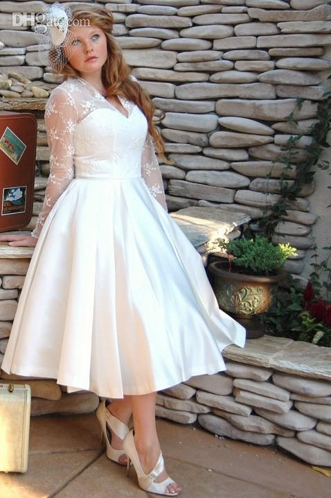 Vintage Style Long Sleeve Tea Length Lace Plus Size Wedding Dresses ...