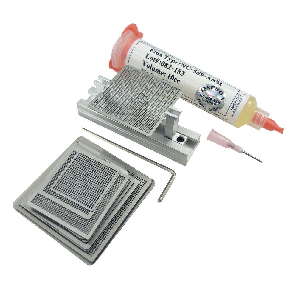 27 Pcs Steel Mesh Laptop Nvidia Chip NC-559-ASM Flux Bga Reballing Stencil Tample Kit With Universal Reball Station  NC 559
