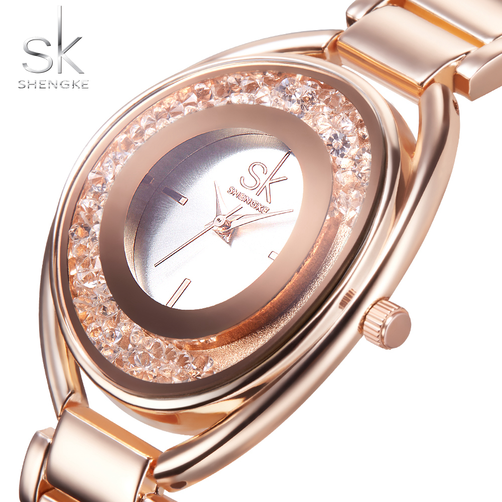 SK Women's Wrist Watches With Diamond Golden Stainless Steel Women Watc