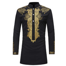 2019 New African Men T-shirt Good Quality Gold Bazin Print Black Long Sleeve Africa Traditional Casual Clothing for Man T-shirt(China)