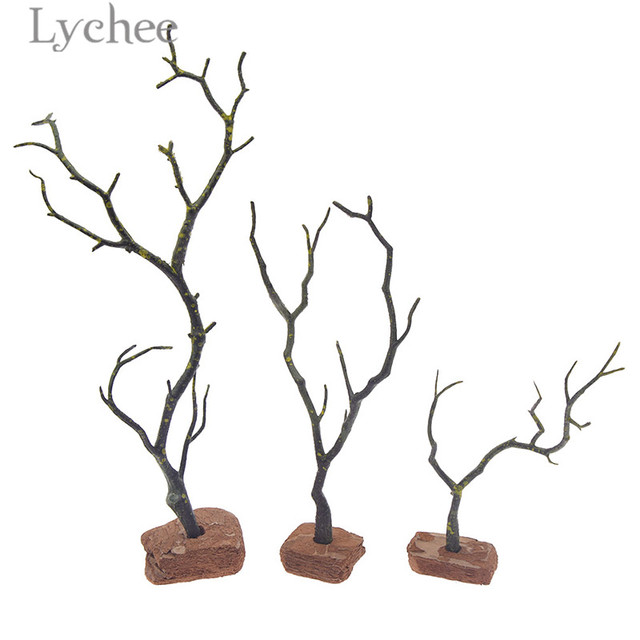 Lychee Zen Garden Plastic Dry Tree Decor Sand Tray Miniatures Mini Model Home Decoration