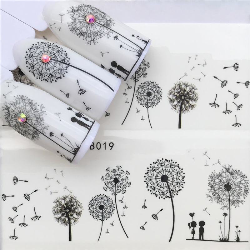 2019 Flying Dandelion Nail Art Water Decals Transfer Sticker Manicure Nail Decoration-in Stickers & Decals from Beauty & Health