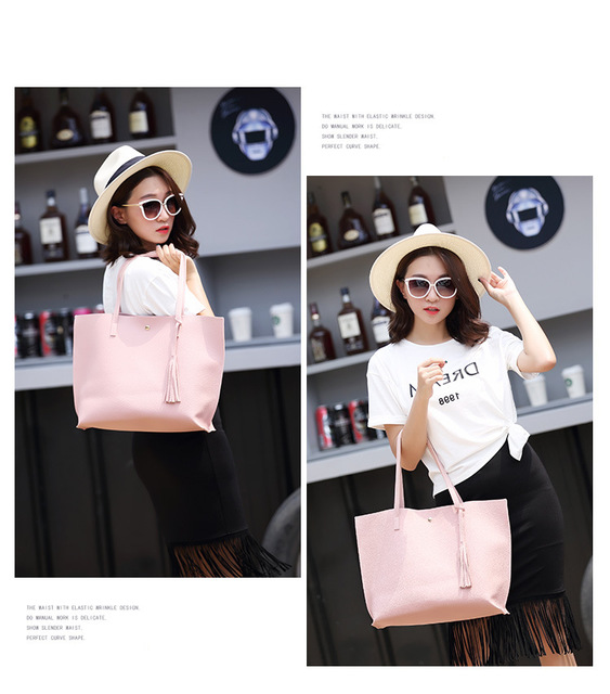 Large Tote Top-Handle Tassel Bag