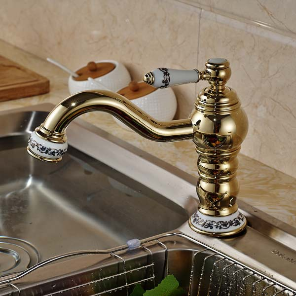 Ceramic Style Golden Brass Kitchen Faucet Vanity Sink Mixer Tap Swivel Spout Deck Mounted golden brass kitchen faucet swivel spout vessel sink mixer tap deck mounted