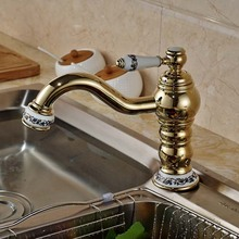 Керамическая стиль золотой латуни кухонный кран раковиной поворотный носик бортике