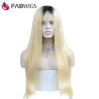 Fabwigs Ombre Blond Glueless Lace Front Wig 130 Density Two Tone Human Hair Wig With Baby