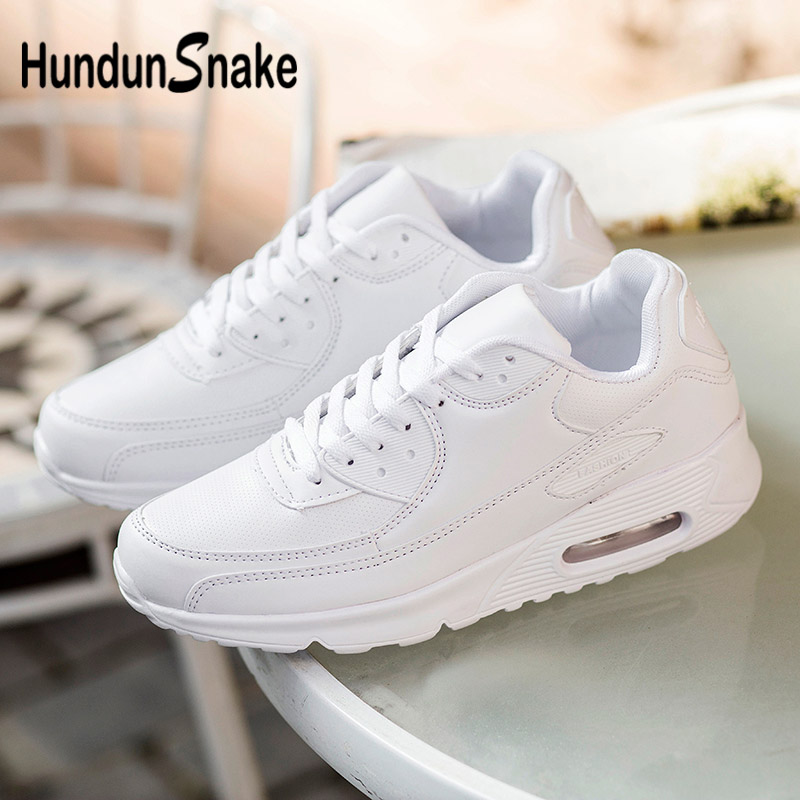 Hundunsnake Air Cushion Sneakers For Running Leather Men Sport Shoes Women White Mens Tennis Shoe Fitness Basket Homme 2018 G-28