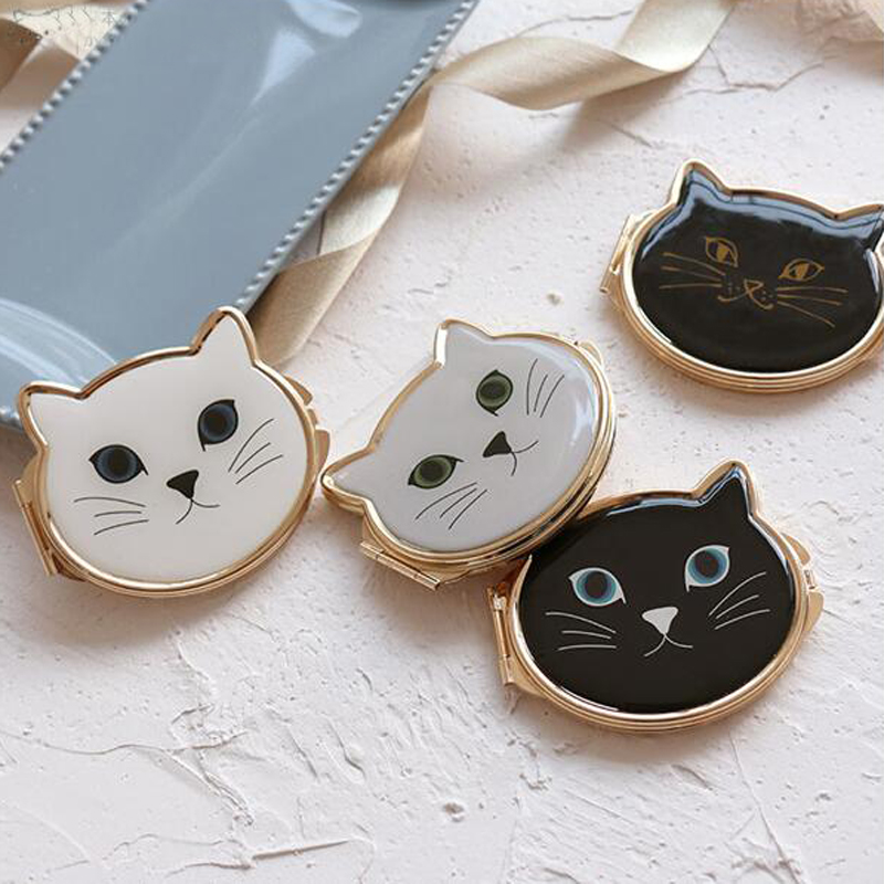 Ladies Cat Pocket Mirror Black or White 4 colors choice