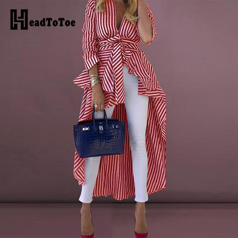 Striped Tied Front Dip Hem   Shirt   Women Long Sleeve V-neck Irregular   Blouse     Shirts   Blusas Mujer De Moda 2019