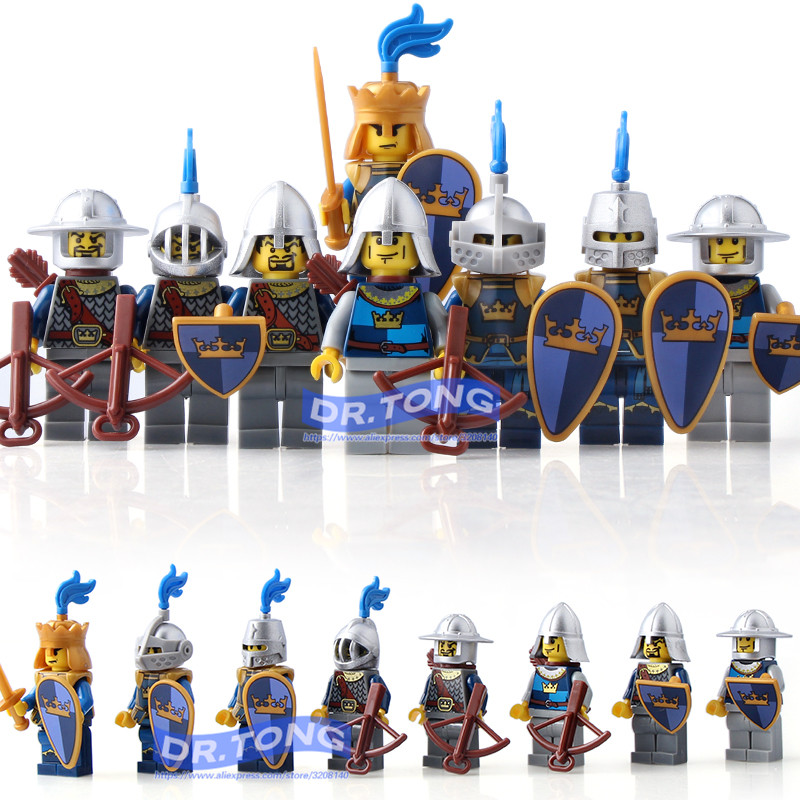 DR.TONG 8pcs/lot Medieval Castle Kingdoms Blue Crown Knights Rider Solider Shield Sword Building Blocks Diy Toys AX9803