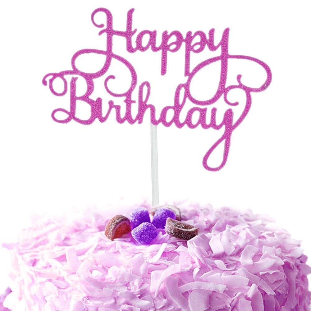 Кекс торт Топпер флаги с надписью Happy birthday двойные палочки для семьи день рождения приборы для декорации выпечки GQ999 - Цвет: Purple