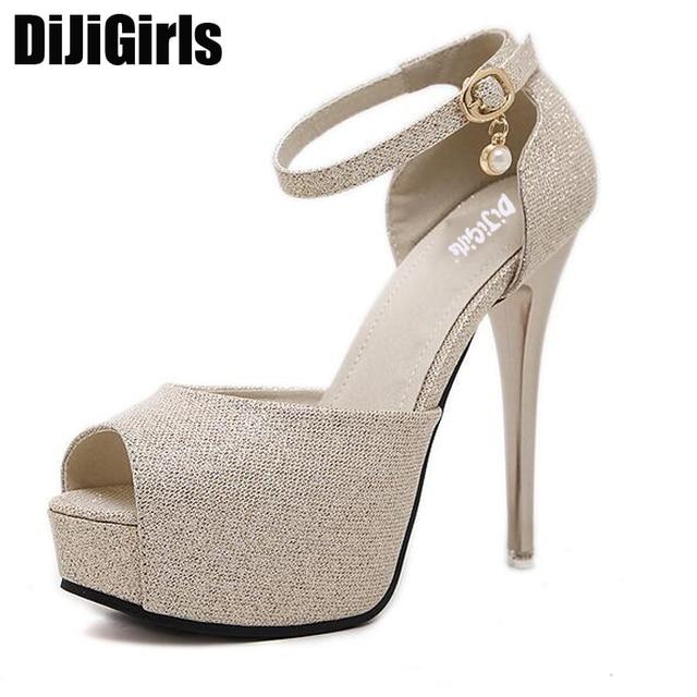 01f2e70d15410 women gold silver pumps stilettos shoes strappy sandals high heels pumps  ankle strap heels glitter shoes