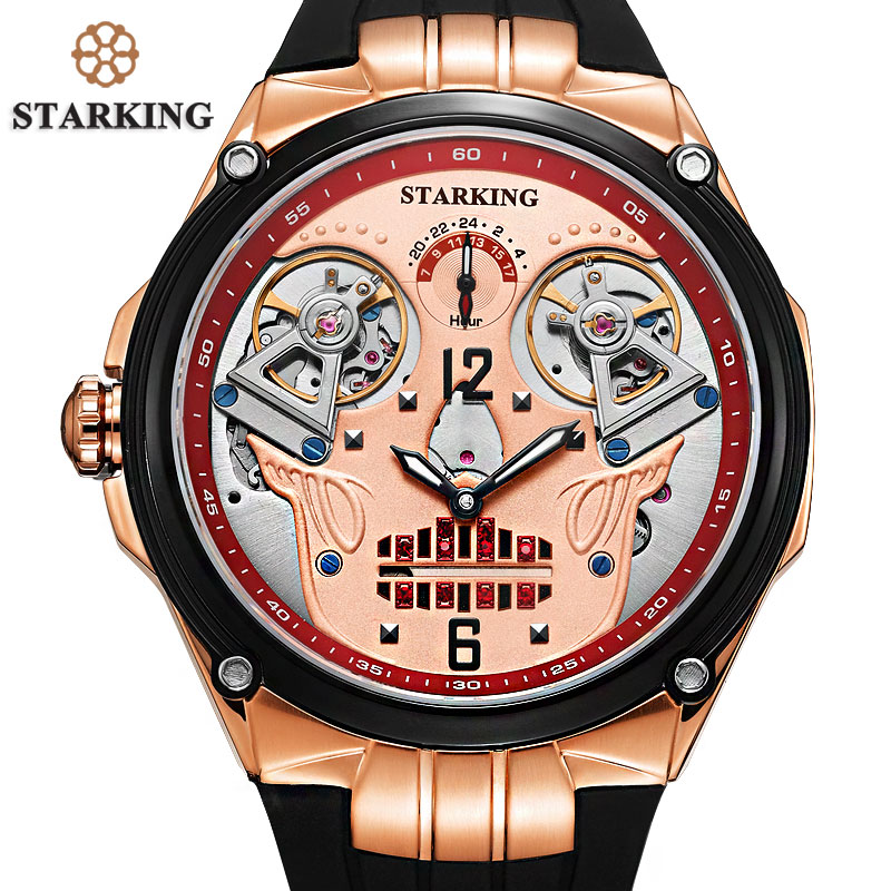 STARKING Watch Men 50M Water Resistant Swimming Watches Cool New Design Double Mechanical Movt Skeleton Skull Watches Relogio environmentally friendly pvc inflatable shell water floating row of a variety of swimming pearl shell swimming ring