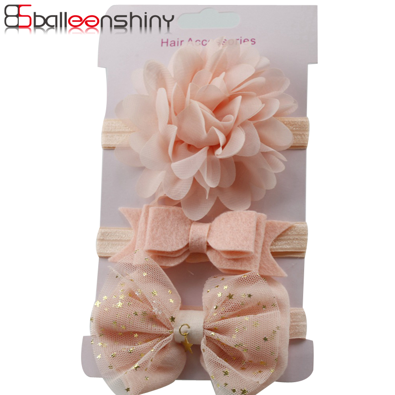 BallenShiny 3 Pcs Hot Sale Baby Girls Flower Hair Band Beautiful New Arrival Bowknot Headwear Suit Headwrap Children Kids Gift