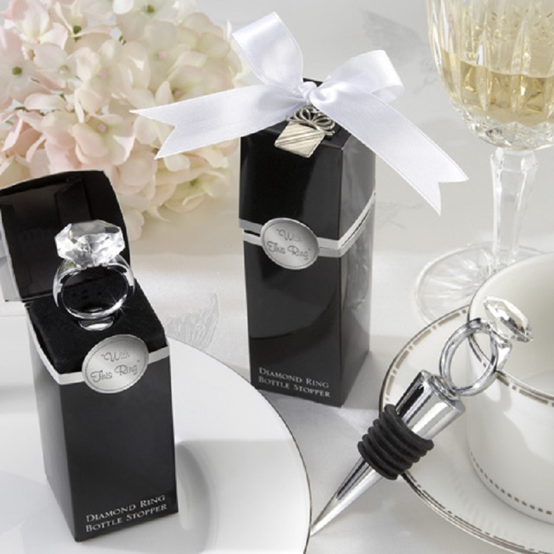 100pcs Wedding Favors Gifts Crystal Diamond Ring Wine Bottle Stopper For Birthday Bridal Baby Shower Wedding Party