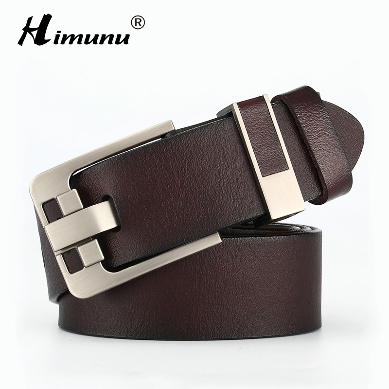Himunu Men Belts Brand Genuine Leather Belt For Men Cowskin Leather Strap Vintage Pin Buckle Belts For Jeans