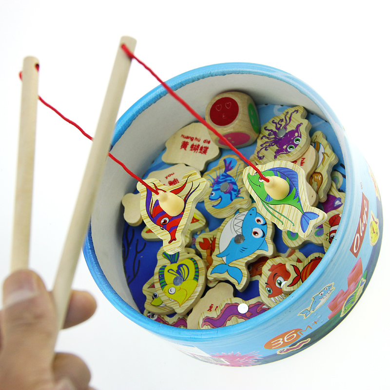 New Children Baby Educational Toy Fish Wooden Magnetic Fishing Toys Set Game for Kids 20 ...