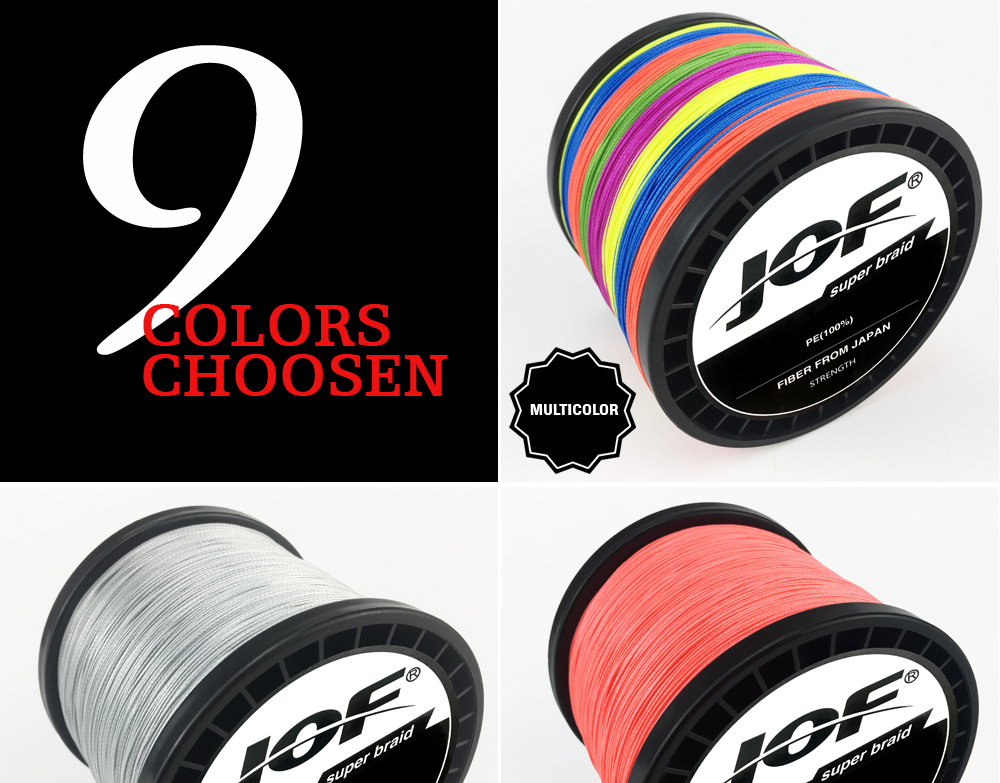 Multicolor 8 Strands 300M 500M 1000M PE Braid Fishing Line Sea Saltwater Fishing Weave 100% SuperPower JOF 12