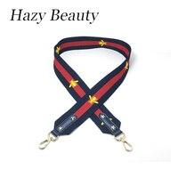 Hazy Beauty Fabricag Strap Chic Women Handbag Stripe Lady Shoulder Bags Belts Bee And Star Design