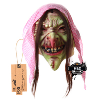 Full Face Scary Scarf Wrinkles Old Witch Latex Female Mask Horror Masquerade Adult Ghost Halloween Props