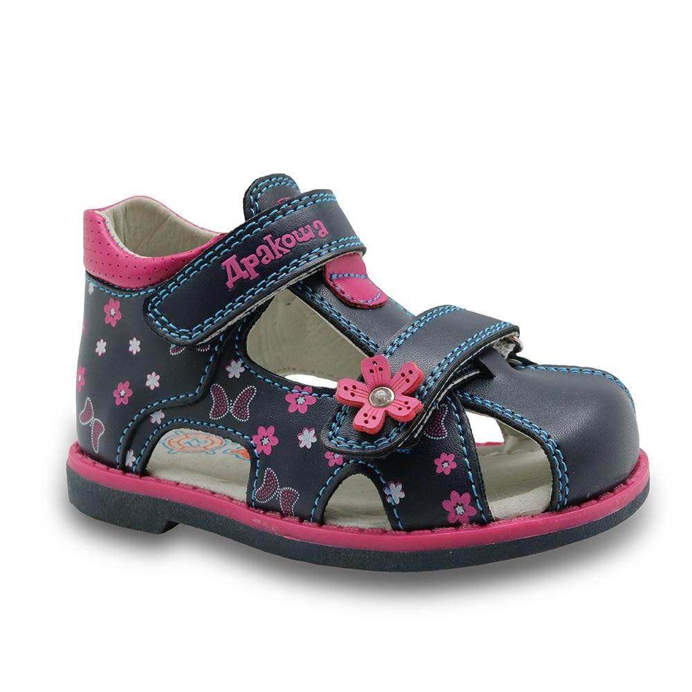 Black enclosed sandals - 2017 New Summer Children Sandals For Girls Pu Leather Floral Princess Orthopedic Shoes Closed Toe Toddler Kids Girls Sandals