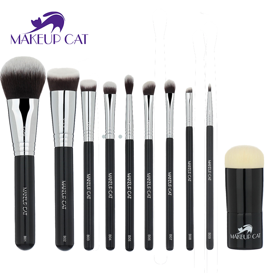 Makeup Cat Professional Makeup Brush Set 10pcs High Quality Makeup Tools Kit 10pcs High Quality Soft Hairs Makeup Cosmetic Brush