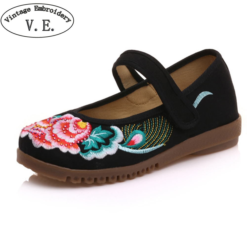 Vintage Women Flats Canvas Shoes Floral Embroidered Ladies Comfortable Cotton Platforms Zapato Mujer Ballet Shoes Woman vintage women flats old beijing mary jane casual flower embroidered cloth soft canvas dance ballet shoes woman zapatos de mujer