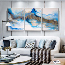 3 Pieces acrylic canvas blue gold painting abstract thread quadro caudro decoracion Wall Art Pictures for living room wall decor
