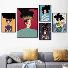 Abstract Woman Painting Pictures Wall Art Print Canvas Fashion Poster Modern For Living Room Unframed
