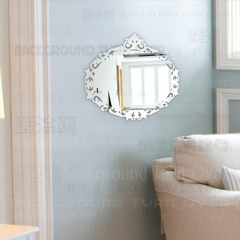 European style oval shape 3mm thick 3d acrylic wall mirror for Specchi da arredo soggiorno