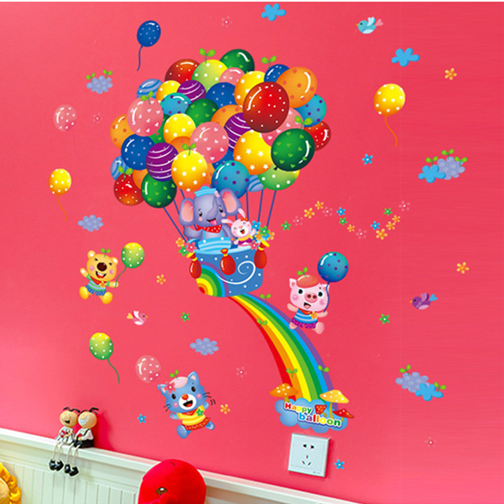 Latest lovely colorful candy balloon rainbow cartoon animals wall sticker for kids room decal wallpaper home decor tv background in wall stickers from home