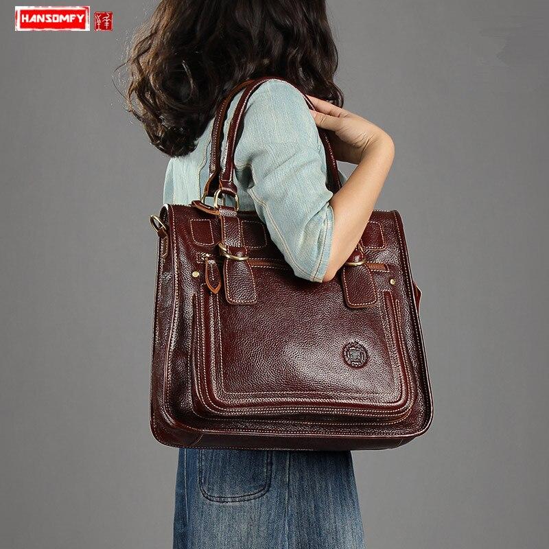 HANSOMFY جلد طبيعي النساء حقائب الإناث أعلى طبقة جلدية الرجعية حقيبة السيدات حقائب كتف متنقلة desion خمر-في حقائب الكتف من حقائب وأمتعة على  مجموعة 1
