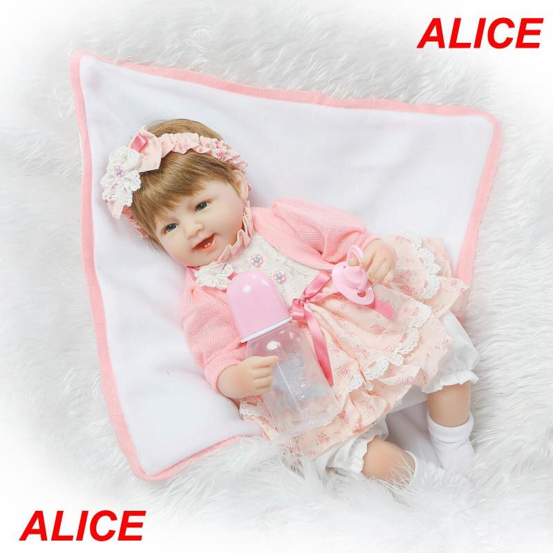 ФОТО Pretty Alice girl doll reborn 40cm soft cloth body silicone newborn dolls best children gift dolls bebe bonecas menina