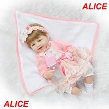 Довольно Алиса девушка кукла reborn 40 см мягкой тканью тела силиконовые новорожденного куклы лучший дети подарочные куклы bonecas bebe menina