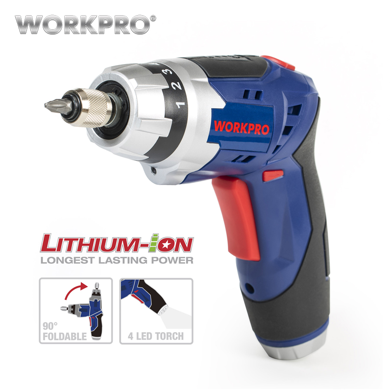 WORKPRO 3.6V Cordless Screwdriver with Work Light Lithium Battery Rechargeable Electric Screwdriver with Bits 2000mah rechargeable lithium battery pack for nds lite with screwdriver