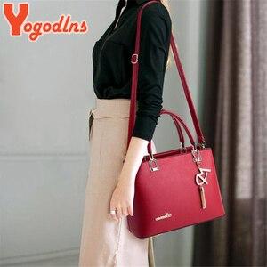 Image 5 - Yogodlns Klassische Reine Farbe Frauen PU Leder Tote Quaste Taschen Weibliche Top griff Handtasche Mode Umhängetasche umhängetasche für dame