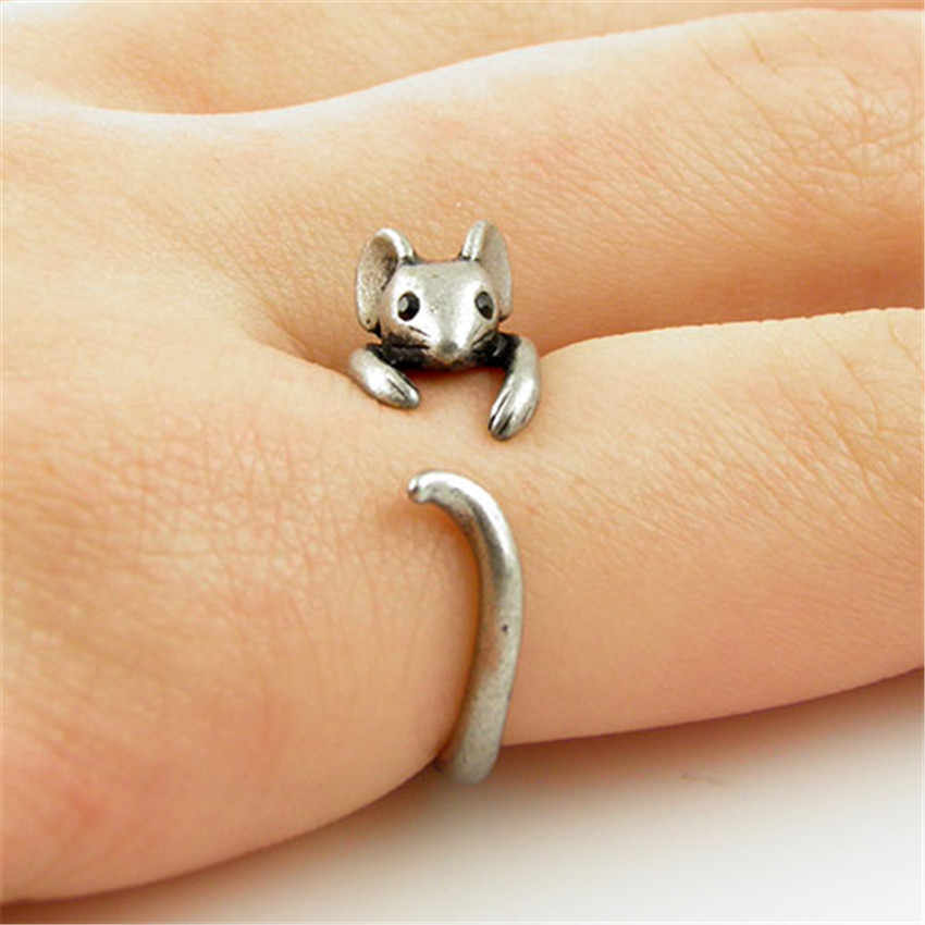 Chengxun BoHo Chic Vintage Perak Kuningan Knuckle Disesuaikan Mouse Hewan Wrap Weeding Ring Wanita Fashion Perhiasan Hadiah