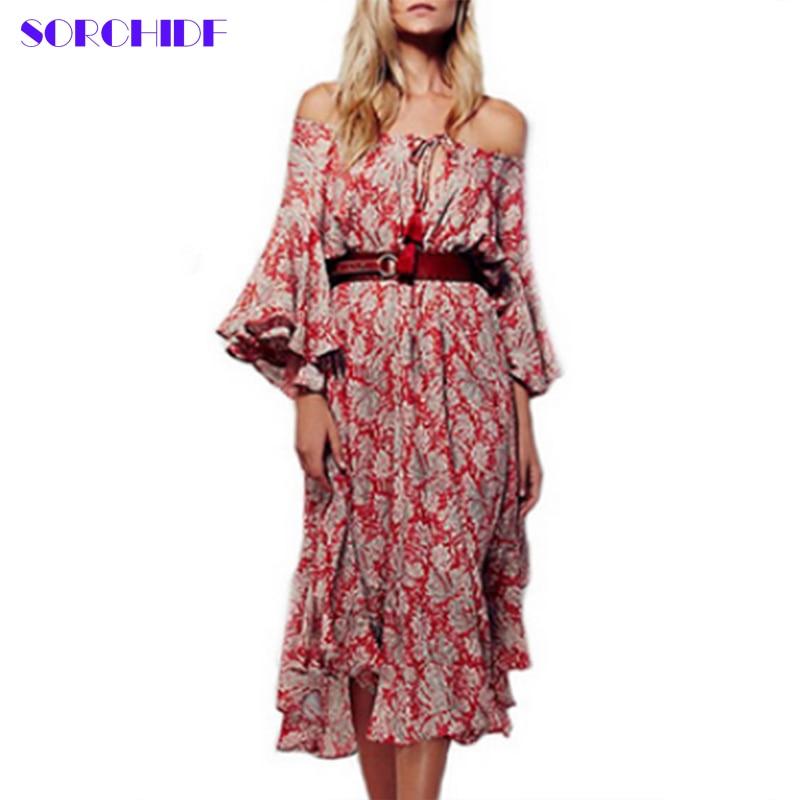 SORCHIDF Summer Dress Holiday Beach Flowing Tropical Dresses Off Shoulder Flower Print Vestido Vintage Bohemian Dress Women D023